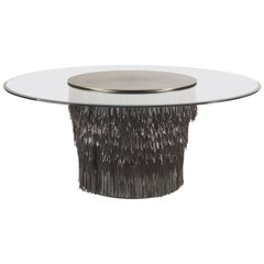 Hit Large Round Table in Leather by Roberto Cavalli Home Interiors