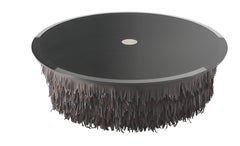 Hit Round Central Table with Leather Base and Glass Top by Roberto Cavalli