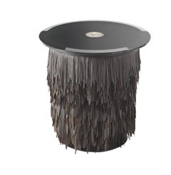 Hit Round Side Table with Leather Base and Glass Top by Roberto Cavalli