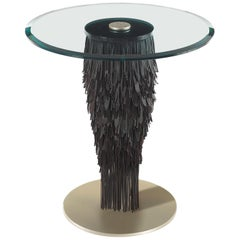 Hit Small Round Table in Leather by Roberto Cavalli Home Interiors