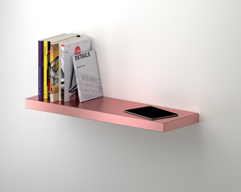 Laminated Contemporary Shelf Gold Hitan Aluminium by Chapel Petrassi For Sale