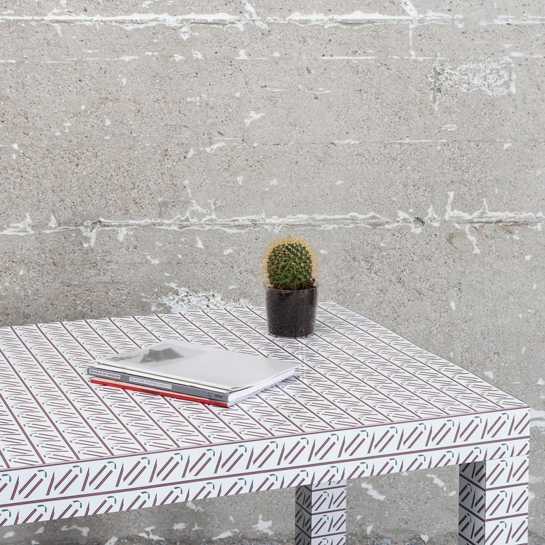 Italian Hitan White California Table by Chapel Petrassi