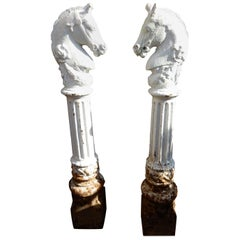 Hitching Posts Cast Iron Horse Heads a Pair