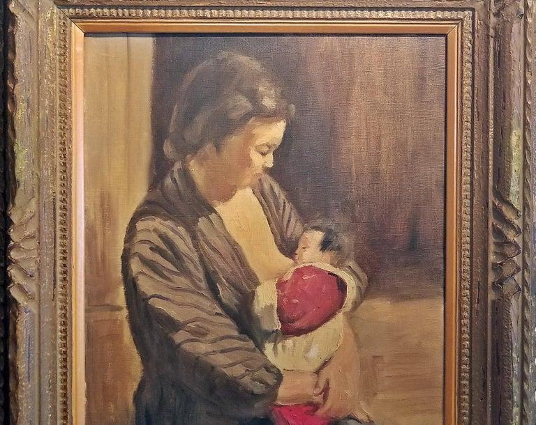 Presenting a gorgeous medium sized oil on canvas, by Japanese Master Impressionist, Hiyashi NoBuo in beautiful original wood frame.  Beautiful impressionistic portrait of a Japanese Mother, in traditional kimono clothing, seated and nursing her