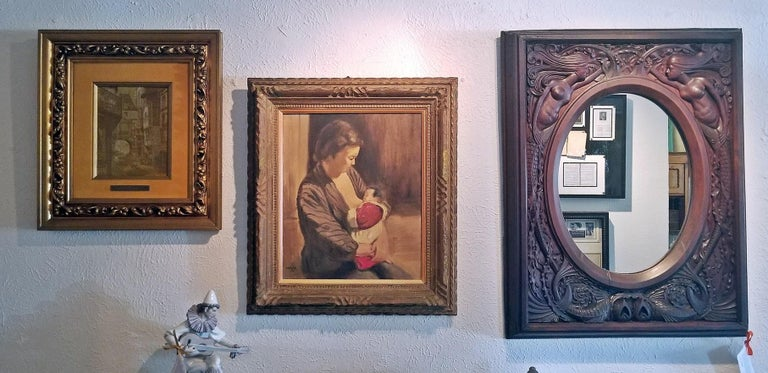 Japanese Hiyashi NoBuo Oil on Canvas, Nursing Mother For Sale