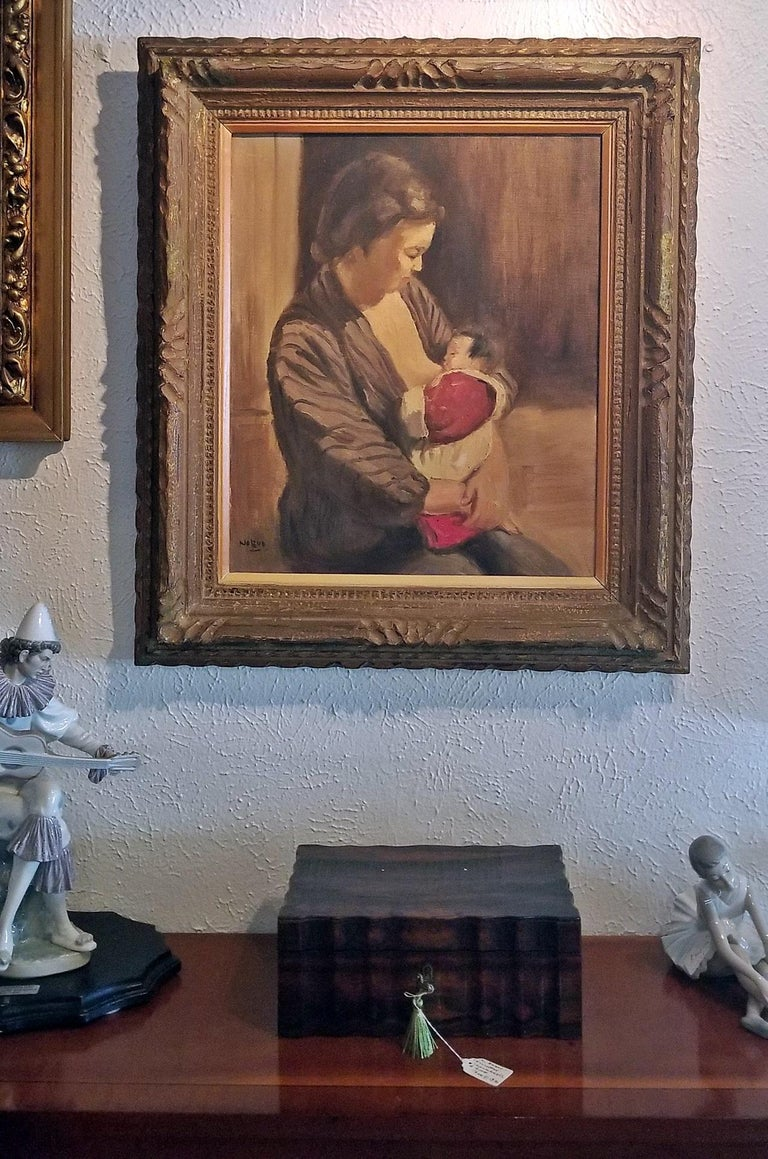 Hand-Painted Hiyashi NoBuo Oil on Canvas, Nursing Mother For Sale