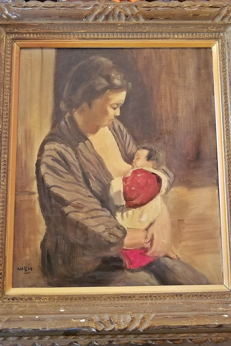 Hiyashi NoBuo Oil on Canvas, Nursing Mother In Good Condition For Sale In Dallas, TX