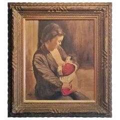 Hiyashi NoBuo Oil on Canvas, Nursing Mother