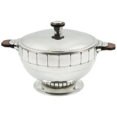 H.J. Pewter Geneve Art Deco Modernist Tureen Covered Dish Centerpiece