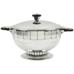 Swiss Art Deco Pewter Tureen Covered Dish Centerpiece