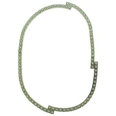 HJ Signed 9 Carat Round Brilliant Cut Diamond Necklace in White Gold
