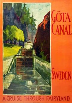 Original Vintage Poster Gota Canal Cruise Through Fairyland Sweden Sailing Art