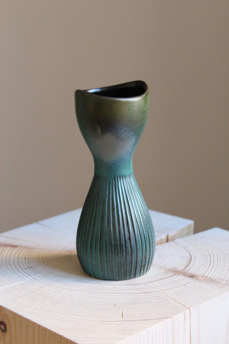 Organic Modern Hjördis Oldfors, Vase, Glazed Stoneware, Upsala-Ekeby, Sweden, 1950s For Sale