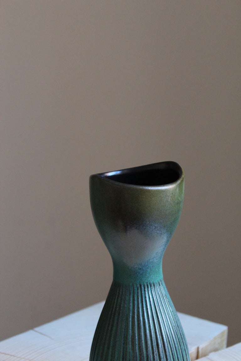 Swedish Hjördis Oldfors, Vase, Glazed Stoneware, Upsala-Ekeby, Sweden, 1950s For Sale