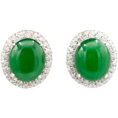 HKJS Certified Natural Fei Cui Jade Earrings with Diamonds 2.80 Carat