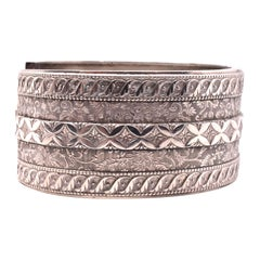 HM 1884 Sterling Bangle Bracelet with Raised Arabesque Patterns