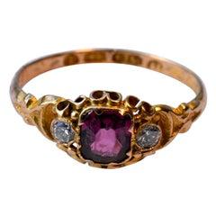 HM Birmingham 1868 Three Stone Ring with Center Garnet and Diamonds