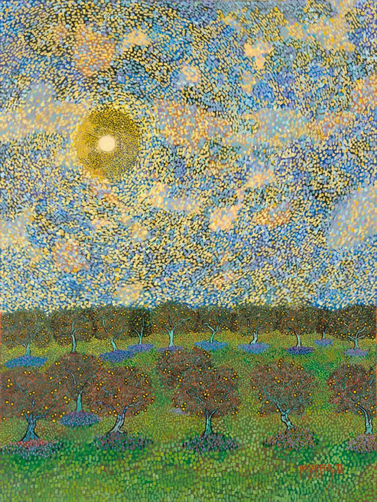 """H.M. Saffer II, """"Citrus Grove"""", Pointillist Landscape Oil Painting on Canvas"""