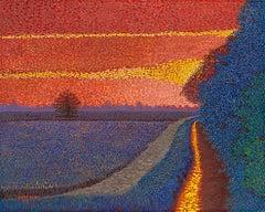 """H.M. Saffer II, """"Field of Dreams III"""", Pointillist Landscape Oil Painting"""