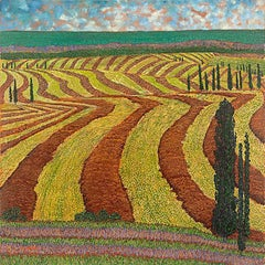 "H.M. Saffer II, ""Harvest Fields"", Pointillist Landscape Oil Painting on Canvas"