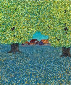"""H.M. Saffer II, """"Off Route 11"""", Pointillist Landscape Oil Painting on Canvas"""