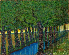 "H.M. Saffer II, ""Quiet Sundown"", Pointillist Landscape Oil Painting on Board"