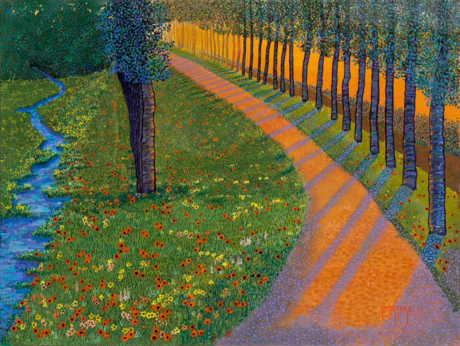 "H.M. Saffer II, ""Sunset Path"", Pointillist Oil Painting Landscape on Canvas"