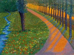 "H.M. Saffer II, ""Sunset Path"", Pointillist Oil Painting Landscape on Canvas"
