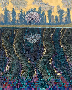 "H.M. Saffer II, ""Water Dance IV"", Pointillist Landscape Oil Painting on Canvas"