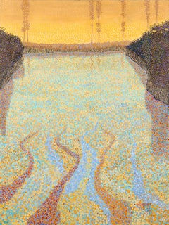 "H.M. Saffer II, ""Water Images IV"", Pointillist Landscape Oil Painting on Canvas"