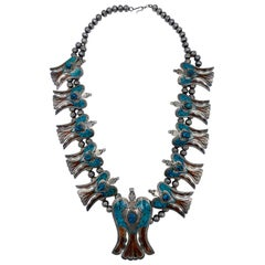 HMIJ Native American Sterling Silver, Turquoise and Cornelian Necklace