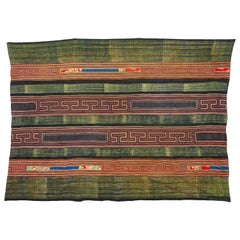 Hmong Batik and Embroidered Blanket with Indigo Based Green Color