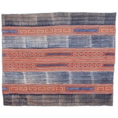 Hmong Batik and Embroidered Blanketwith Indigo Color, Mid-20th Century