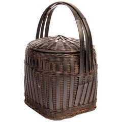 Hmong Storage Basket with Lid and Handle, Guizhou, China, Mid-20th Century
