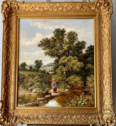 19th century English landscape with a woman crossing a river on stepping stones