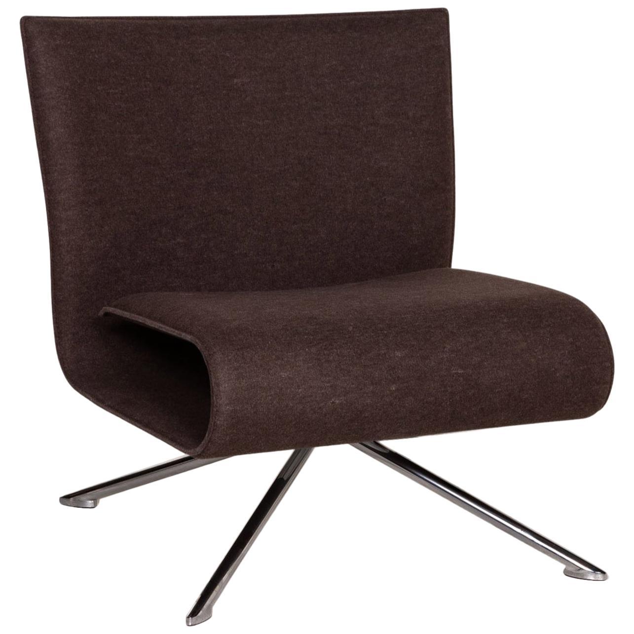 HOB Easychair by VERTIJET for COR Designer Armchair, Felt Fabric, Brown, Molded