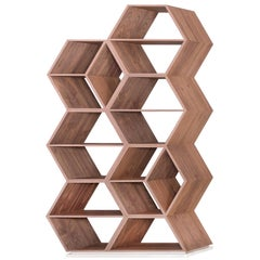 Hobart Bookcase Slanted Shape Walnut Natural Finish Champagne Lacquered