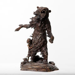Her Bear by Hobbes Vincent. Bronze sculpture of a bear protecting a little girl