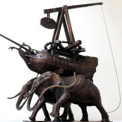 The Elephants by Hobbes Vincent. Surrealism bronze sculpture.