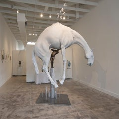 The Horse by Hobbes Vincent. Surrealism epoxy plaster resin and bronze sculpture