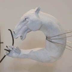 Time, 2017 by Hobbes Vincent. Surrealist steel and white plaster sculpture.