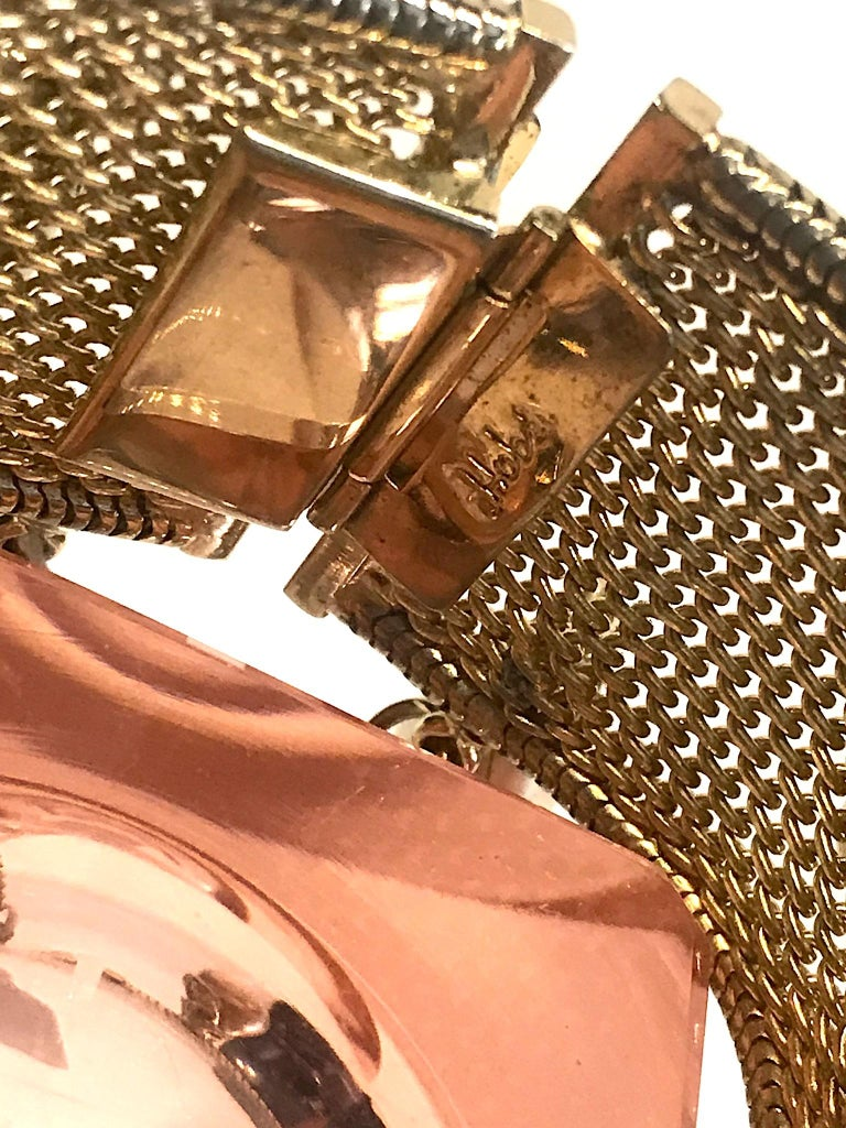 Hobe' 1950s Woven Mesh Bracelet with Pearl Dangles For Sale 4