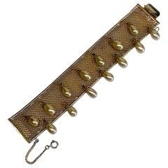 Hobe' 1950s Woven Mesh Bracelet with Pearl Dangles