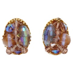 Hobé Aurora Borealis Crystal Cluster Clip-On Earrings Pair, circa 1970, Signed