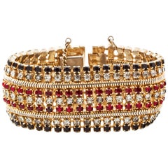 Hobe Crystal and Gilt Metal Bracelet