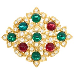 Hobe Gold Red and Green Cabochon Pin Brooch with Crystals, Mid 1900s