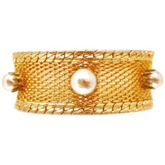 Hobé Mesh Cuff Bracelet with Graduating Pearl Accents, circa 1960, Signed