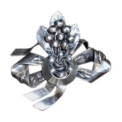 Hobe Sterling Silver Bow with Flowers Large Pin, Circa 1940's