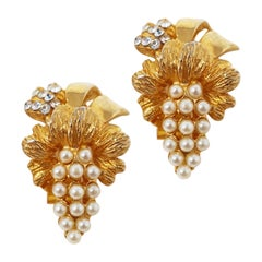 Hobé Vintage Gilded Pearl & Crystal Rhinestone Statement Earrings, Signed, 1950s