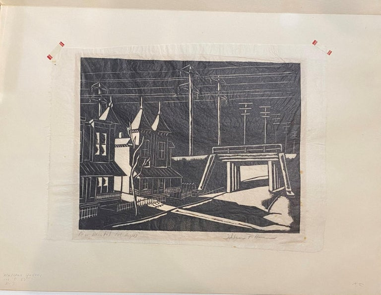 Near Bristol, Late Night, Woodcut print on Japanese Paper by Hobson Pittman For Sale 1